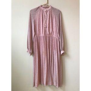 50s, 60s vintage spring pink long sleeve dress